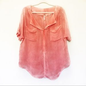 Free People - Peach Sun Washed Double Pocket Tee